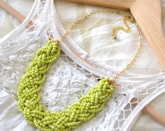 Lime Green Bold Braid Necklace, Statement Necklace, Bib Necklace, Braided Necklace, Beaded Necklace, Chunky Necklace, Lime Green Jewelry