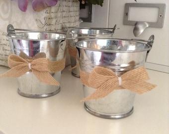 Metal Bucket Mini / Wedding Vintage Bucket / Small Metal Burlap Bucket /Wedding Decor Bucket / set of 12 /Small Metal Decor Burlap Bucket