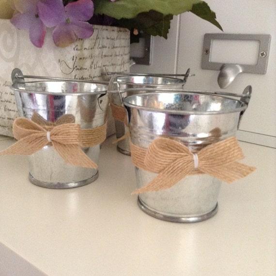 Metal bucket mini wedding vintage bucket small metal for How to decorate a bucket