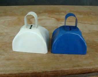 Two Metal Farm Animal Clasping Bell Cow Sheep Calf Goat Kid Bells Cobalt Blue And White Set
