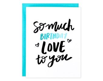 Birthday Card, Love Birthday Card, Heart Birthday Card, Ombre Birthday Card, My Person Card, Ombre Blue Birthday Card, Birthday Love, Heart
