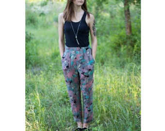 VTG PARACHUTE PANTS | High Waisted Vintage Abstract Retro Genie Floral Pants