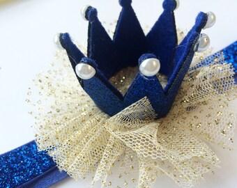 Princess Crown Headband Photo Prop - First Birthday Headband - 1st Birthday Head Band - Baby Crown Head Band - Royal Blue Sparkle Headband