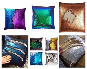 Reversible mermaid sequin pillow