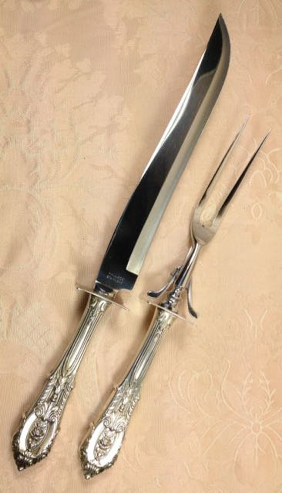 Wallace rose point sterling silver carving set knife and fork