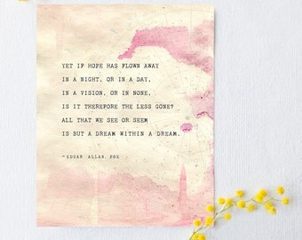 Edgar Allen Poe poetry art, a dream within a dream, quote poster, wall art, poetry print