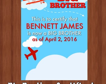 Adorable Big Brother Certificate - Big Brother Gift - Big Brother Present - Big Brother Certificate - Unique Sibling Gifts - Digital File