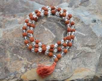 Rudraksha and Quartz Mala