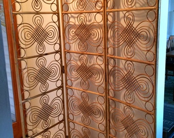 Vintage Mid Century Modern Bamboo Room Screen Divider Floor Standing 3 Panel Screen