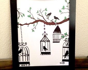 Bird cage drawing