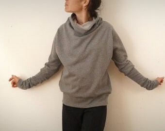 plain grey organic Sweatshirt Heather Japanese armholes and Turtleneck