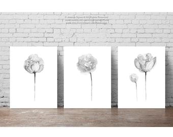 Three Peonies Clipart Black White Abstract Floral Watercolor Painting set 3 Flowers Grey Wall Decor, Minimalist Nursery Kids Room Art Print