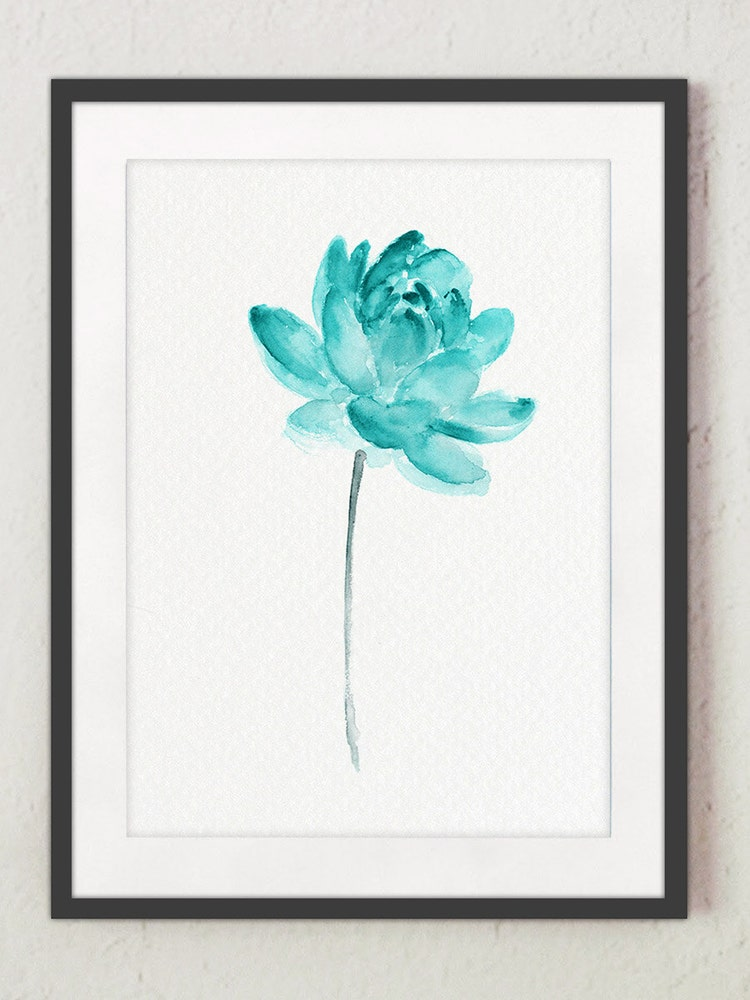 Lotus Flower Teal Watercolor Painting Abstract By