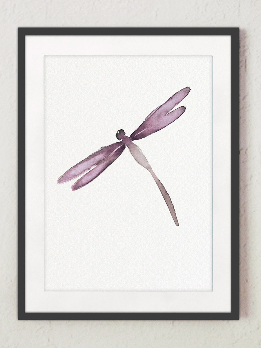 Dragonfly purple wall art abstract watercolor painting for Dragonfly wall art