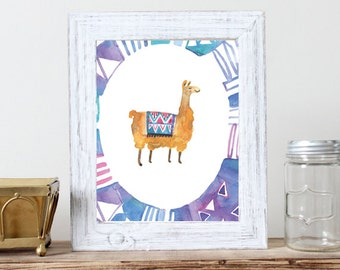 Llama Print -  Print of Watercolour Illustration