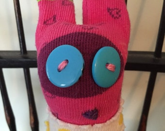 Stuffed Sock Critter; Quirky Handmade Sock Animal Made from Recycled Materials; OOAK  (Pita)