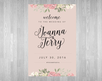 """Custom 24x36"""" Welcome to our Wedding Poster Sign - Blush Pink Floral"""