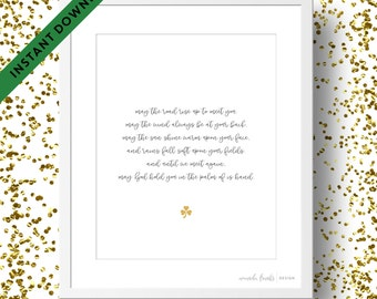 Printable Black and Gold Irish Blessing Art Print   Instant Download   St. Patrick's Day
