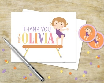 Custom Birthday Thank You for Girls | Gymnast Personalized Thank You Card