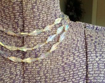 Vintage 3 Strand Crystal Necklace by Carmen Jewelry