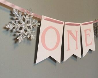 Winter ONEderland high chair banner, first birthday, Frozen birthday party, winter birthday party, snowflake decorations, winter onederland