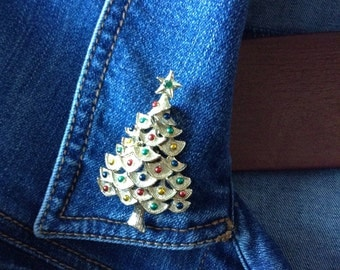Vintage Gold Tone Gerry's Christmas Tree Pin FREE SHIPPING!!