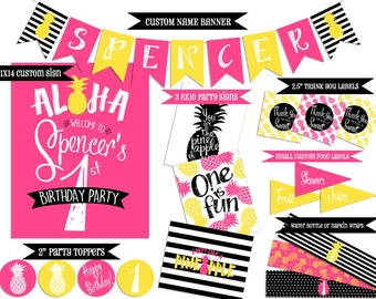 Pineapple Party Printables | Tropical Party | Pineapple Birthday Banner | Pineapple Shower | Tropical Birthday Banner | Tropical Shower