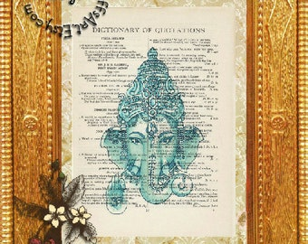 Green Hindu Elephant Deity Art -  Beautifully Upcycled Vintage Dictionary Page Book Art Print