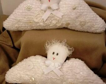 Guardian Angel Pillow, Childrens pillow, Grandparent Pillow, Shabby Chic decor, Limited, Unusual Design, Chenille fabric, Handmade, Handsewn
