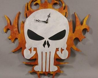 Items Similar To Wall Clock Skulls Clock Funny Skull Clock