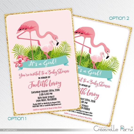 flamingo baby shower printable invitation glitter invitation