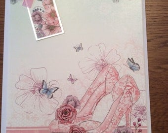 Handmade greetings card - flowers and shoes