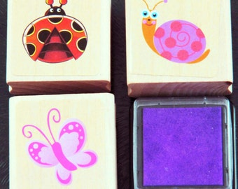 Cute Garden Ladybird Ladybug Snail Butterfly Creatures Rubber Stamp Set with Ink Pad