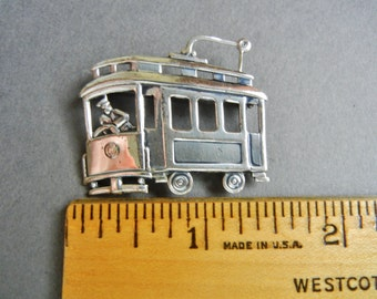 Sterling San Francisco cable car pin, Sterling trolley car pin, sterling streetcar pin, san francisco cable car pin, trolley car pin