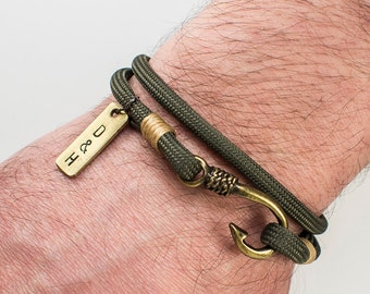 EXPRESS SHIPPING Men's Personalized Bracelet,Men's Paracord Bracelet,Brass and fish hook bracelet,Personalized Men Bracelet,Bronze fish hook