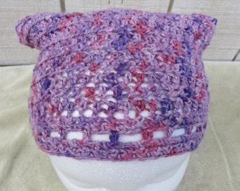 Hand Crocheted Bandana Hair Kerchief made from Handspun Yarn Lavender Purple Pink Women Girls Teens Button