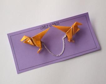 Origami dinosaur collar clip