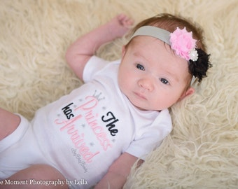 The princess has arrived embroidered baby girls coming home hospital outfit headband set pink and black silver crown