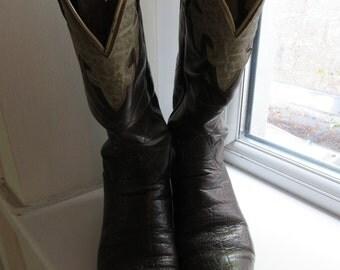 Vintage Womens Tony Lama Cowboy Boots - UK Size 4 To 4.5