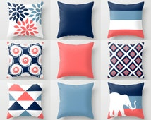 Throw Pillow Cover Navy Stone Coral White Pillow Cover Couch Cushion Decor Home Decor Living Room Pillow Elephant Decor Geometric Pillow