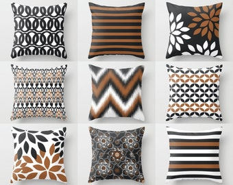 "Throw Pillow Covers, Accent Pillow Covers,Toss  Pillow Covers,  Home Decor, 16""x16"" 18""x18"" 20""x20"" Russet White Charcoal Decorative Pillows"