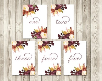 Autumn Berry Table Numbers 1-10