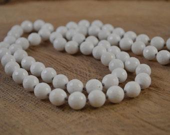 White Onyx Necklace, Bohemian Jewelry, Hand Knotted, Boho Chic, Onyx Necklace, White Necklace, Long Beaded Necklace