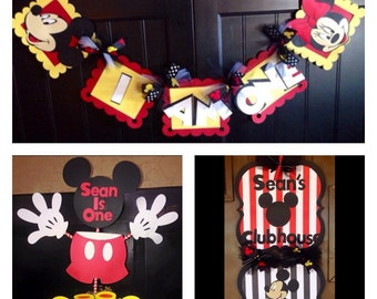 Party Package...Mickey Mouse banner, door sign, and centerpiece sticks.