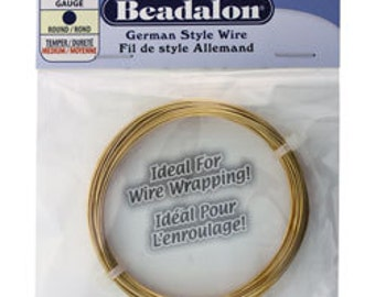Beadalon German Style Wire 22ga Round Gold Color 10 Meter Coil (WR5522G)