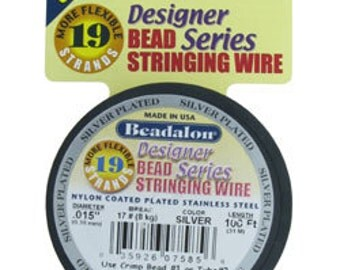 "Beadalon 19 .015"" 15ft Spool Silver Plated (CD41915S-15)"