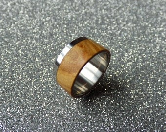Stainless steel and olive wood ring