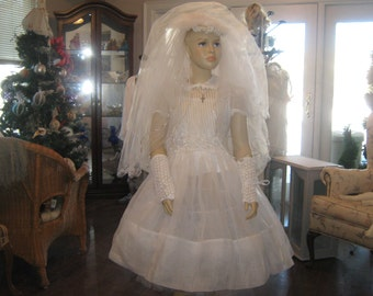 Vintage Organdy Communion Dress. Complete Outfit.