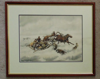 Vintage Russian Cossack Watercolor Painting Signed and Dated with Wolves & Horses