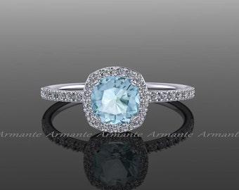 Halo Diamond Aquamarine Engagement Ring Cushion Cut 14k White Gold Wedding Ring,  Re00082